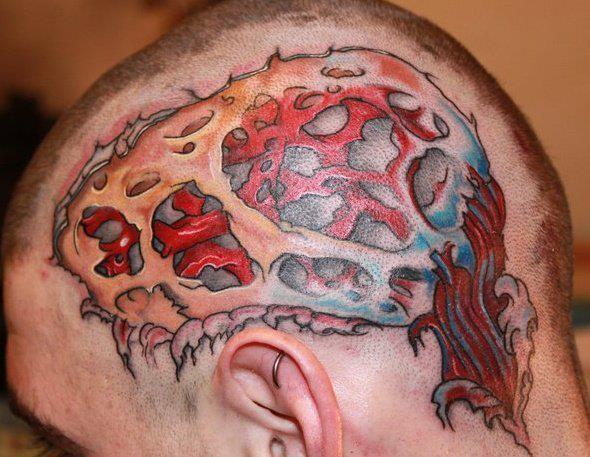 Awesome 3D style brains like tattoo on head