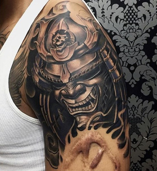 Awesome 3D style colored evil samurai tattoo on upper arm zone
