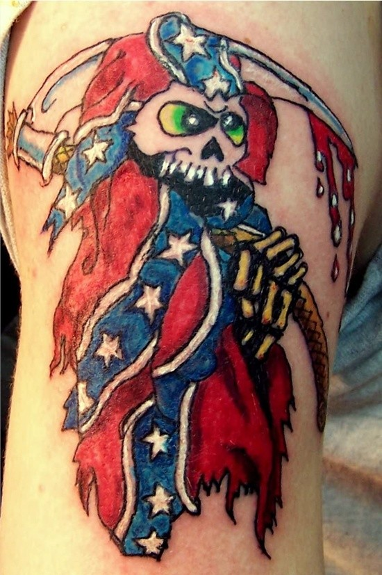 Awesome american death with a scythe tattoo