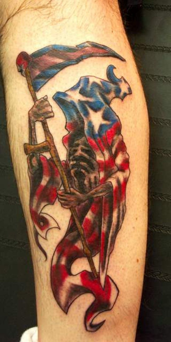 Awesome american grim reaper tattoo
