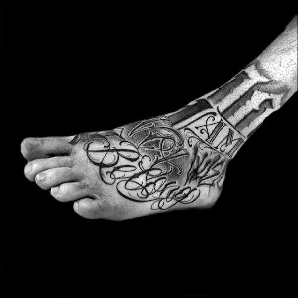 Awesome black and white memorial tattoo with lettering on foot