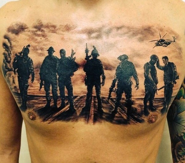Awesome black and white military tattoo on chest