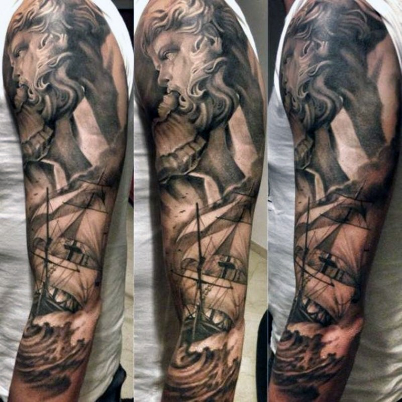 Awesome black and white Poseidon with big ship tattoo on sleeve