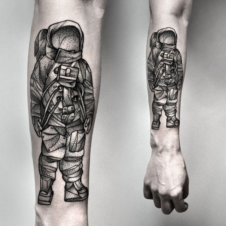 Awesome black gray astronaut forearm tattoo