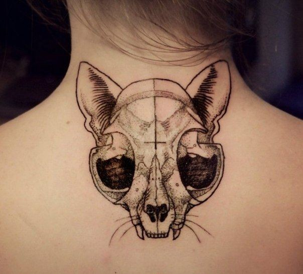 Awesome black gray cat skull tattoo on back