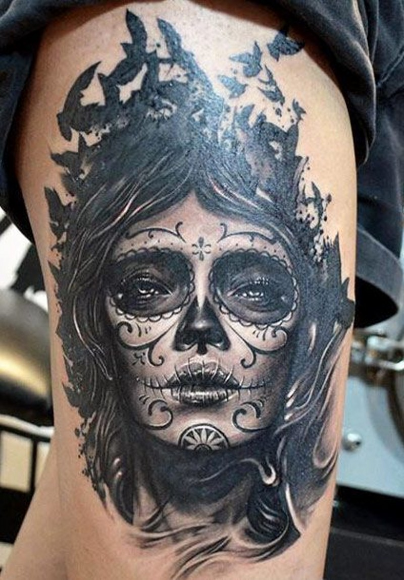 Awesome black gray santa murete girl with black birds tattoo by Elvin Yong