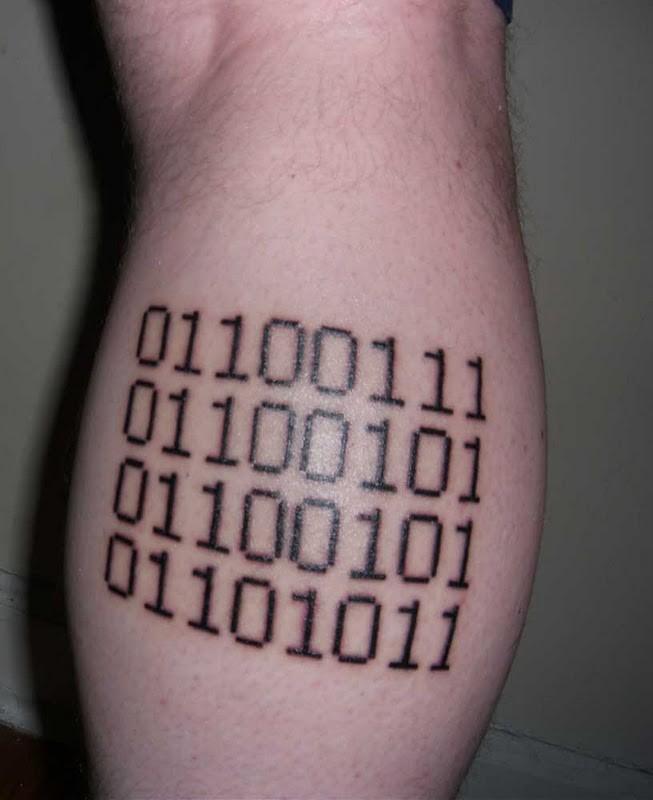 Awesome black ink binary code geek tattoo on leg