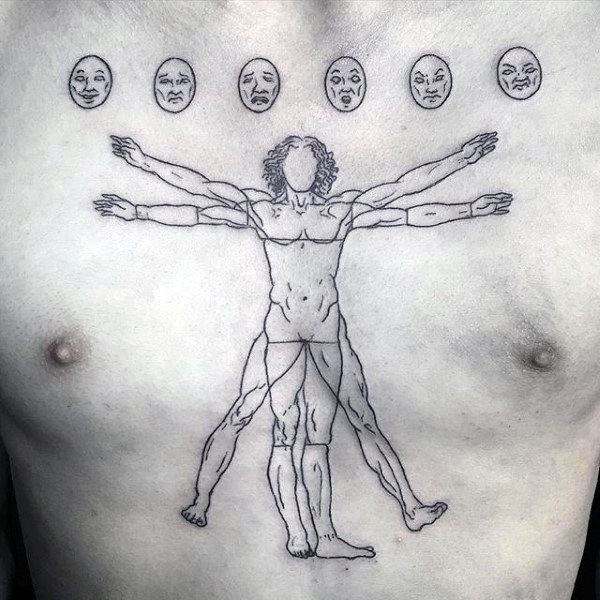 Awesome black ink chest tattoo of faceless Vitruvian man combined with lots of faces
