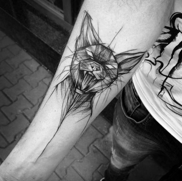 Awesome black ink creepy cat sketch tattoo on forearm