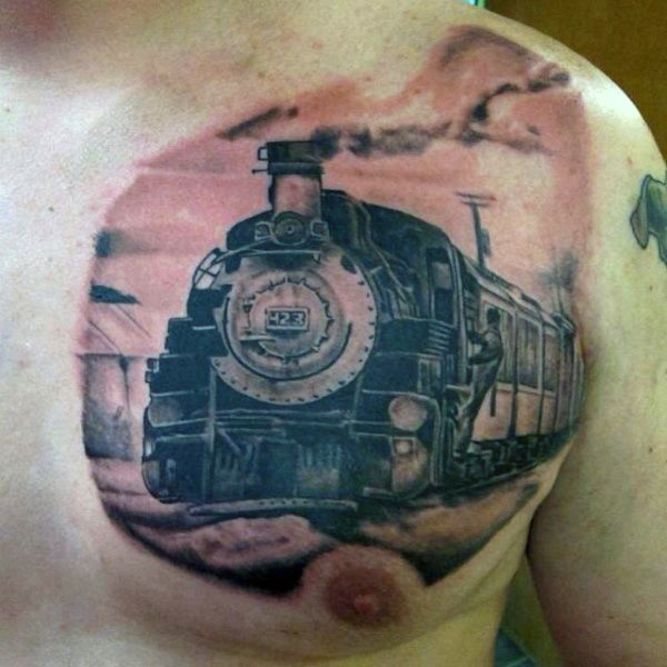 awesome black ink old train tattoo on chest. Black Bedroom Furniture Sets. Home Design Ideas