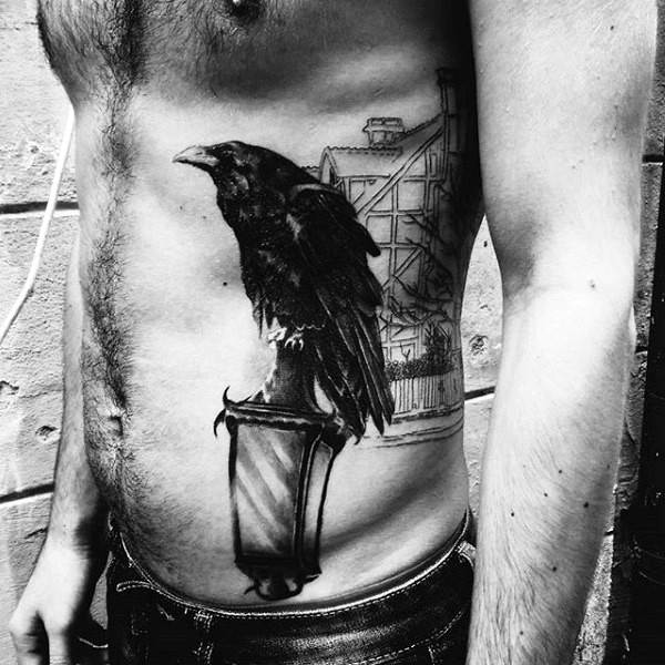Awesome black ink realistic crow on street light side tattoo