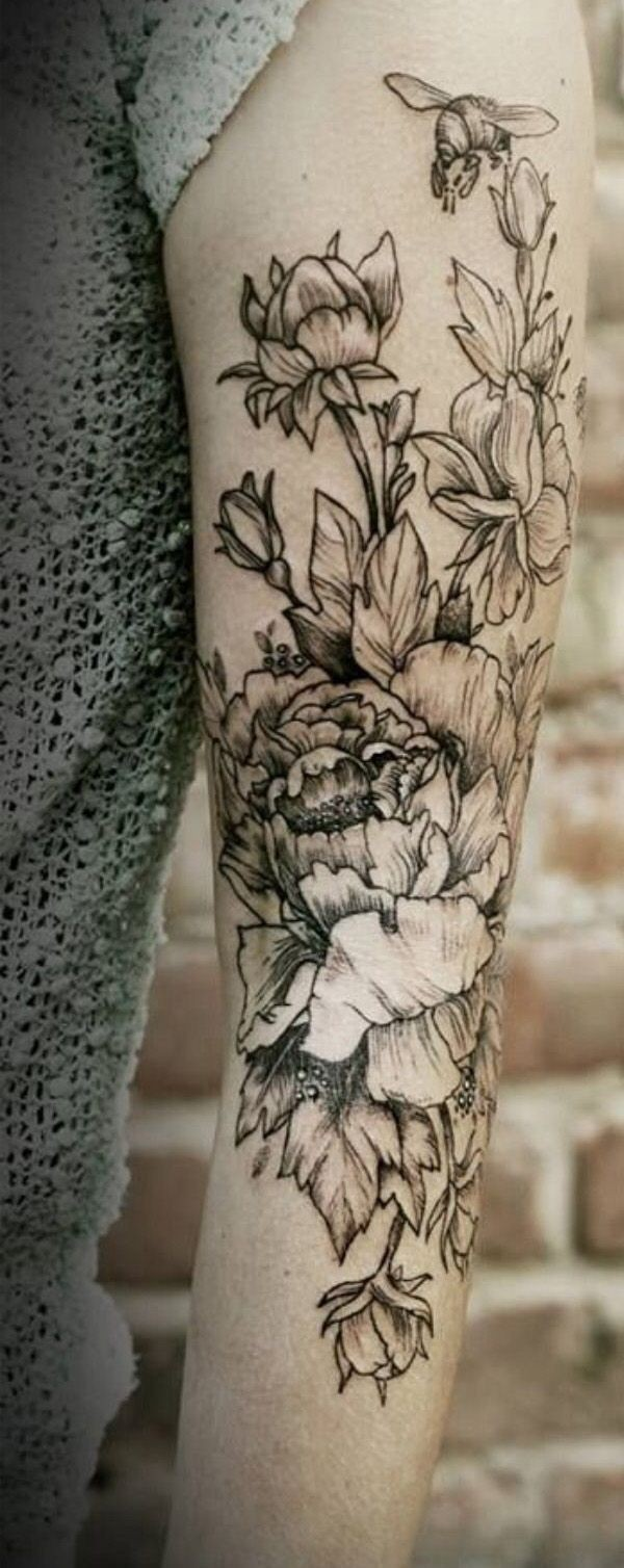 Awesome black lines flowers tattoo on arm