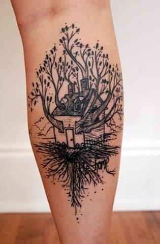 Awesome black tree house tattoo on leg