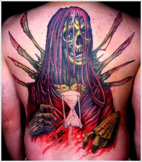 Awesome bloody grim reaper tattoo on back