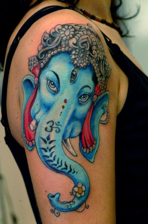 Awesome blue ganesha head tattoo on shoulder