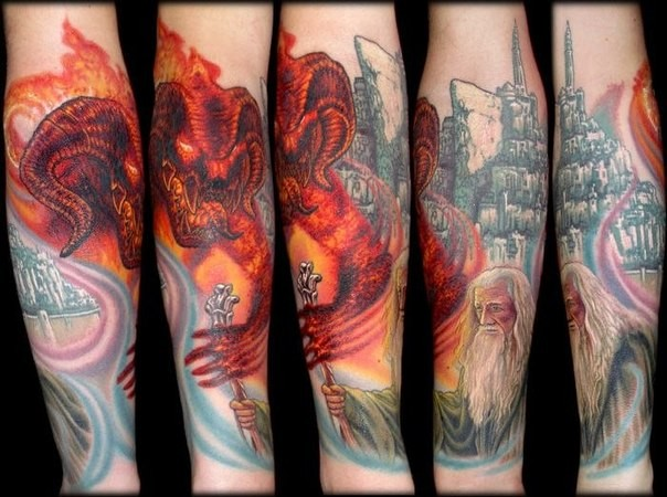 Awesome cartoon like multicolored Lord of the Rings themed forearm tattoo
