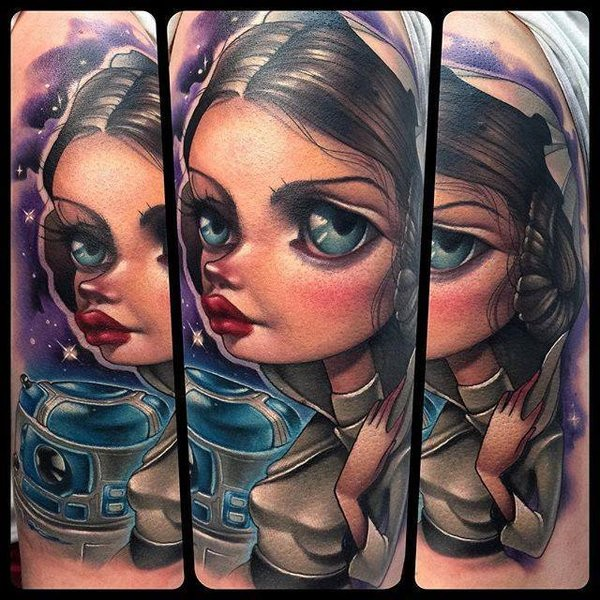 Awesome cartoon style designed Star Wars Leia Organa with R2D2 droid tattoo on shoulder