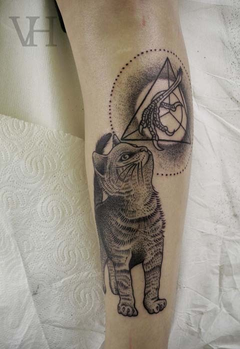 Awesome cat thinking of chicken paws tattoo by Valentin Hirsh