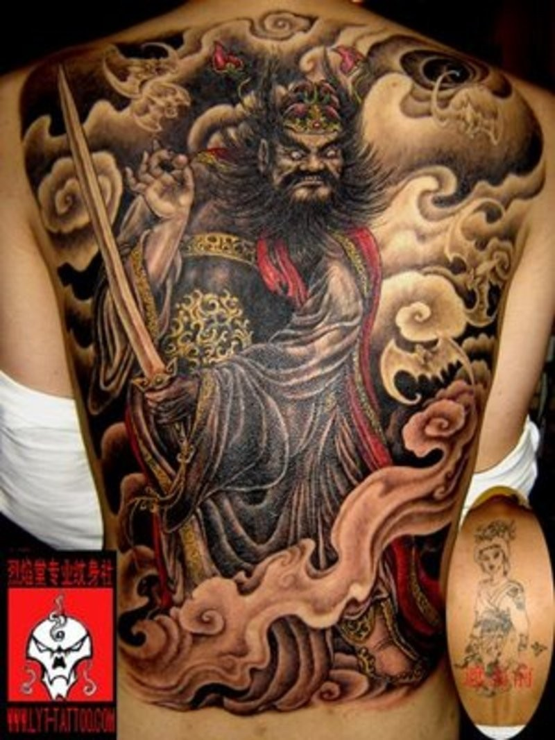 b9534916be689 Awesome chinese devil tattoo on back - Tattooimages.biz