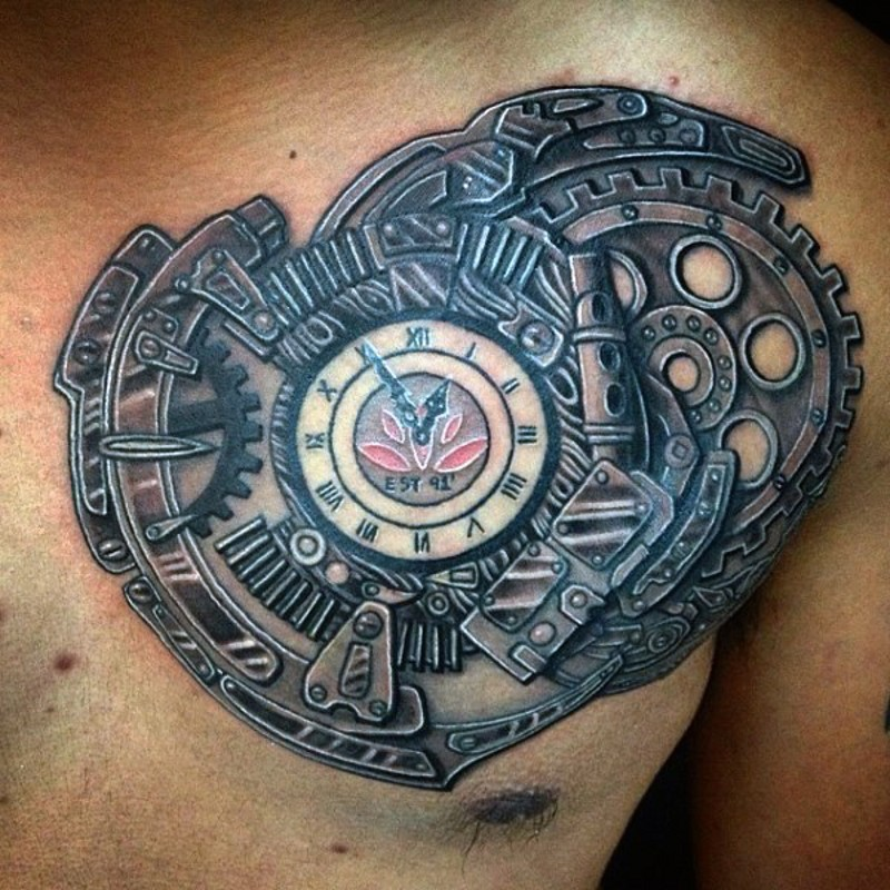 Awesome colored big heart shaped mechanic clock tattoo on chest