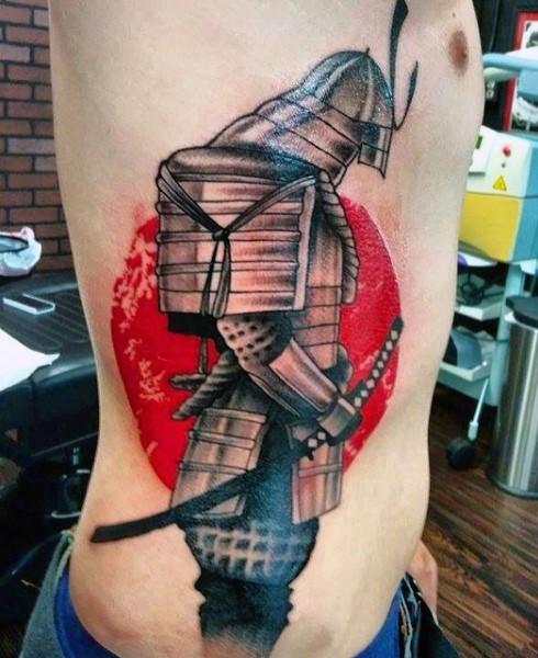 Awesome colored big side tattoo of samurai warrior armor