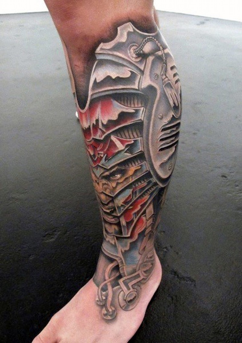 awesome colored biomechanical on leg with evil