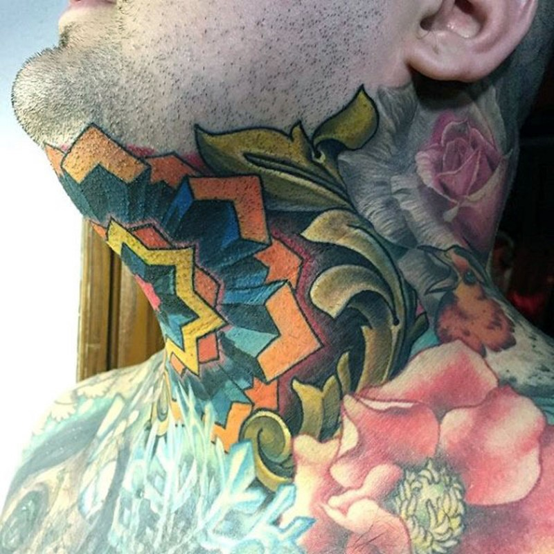 Awesome colored flower shaped ornament tattoo on neck