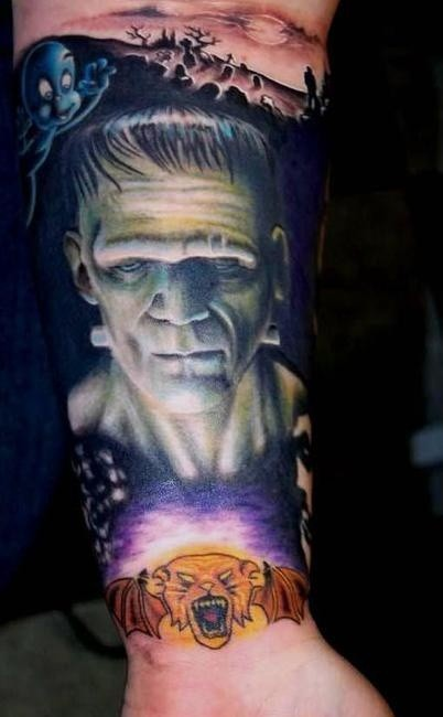 Awesome colored realistic looking old movies heroes tattoo on arm