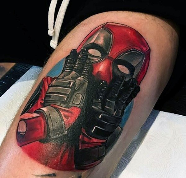 Awesome colored tattoo of screaming Deadpool