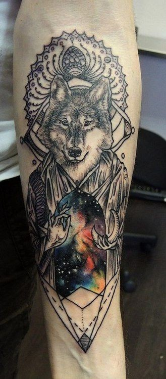 Awesome colored wolf magician tattoo on arm