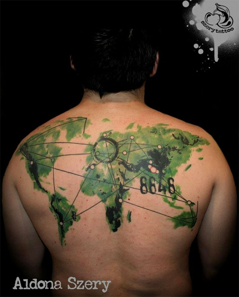Awesome colored world map with route and lettering tattoo on upper back