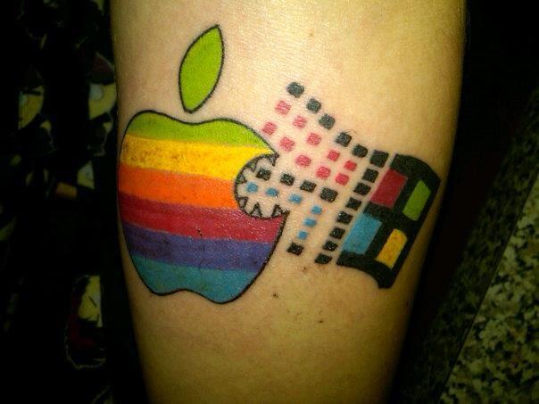 eccezionale mela colorata windows simbolo tatuaggio