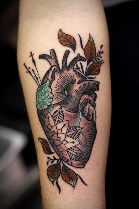 Awesome coloured heart forearm tattoo