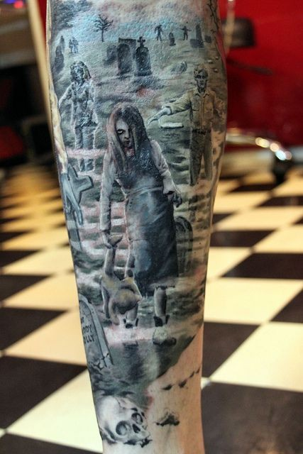 Awesome creepy horror movie zombie children on cemetery leg tattoo