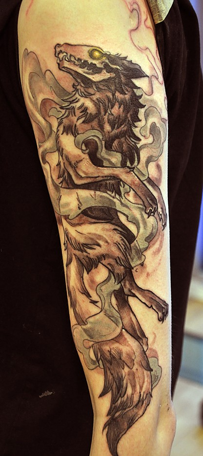 Awesome Dead Wolf Tattoo On Half Sleeve Tattooimagesbiz
