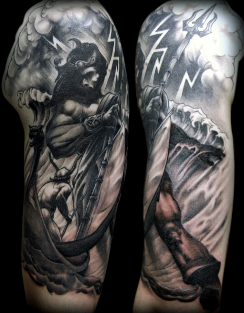 Awesome designed and colored big Poseidon tattoo on sleeve