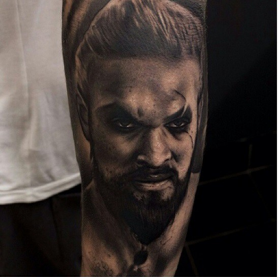 Awesome designed black ink detailed forearm tattoo of Game of Thrones barbarian king