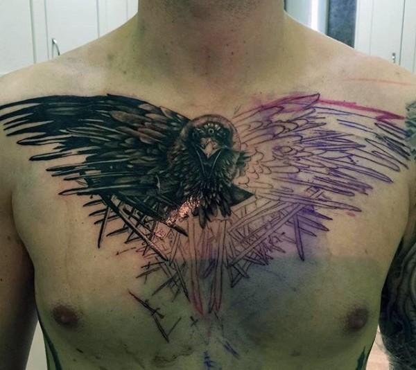 eccezionale disegno infinito nero e bianco corvo tatuaggio su petto