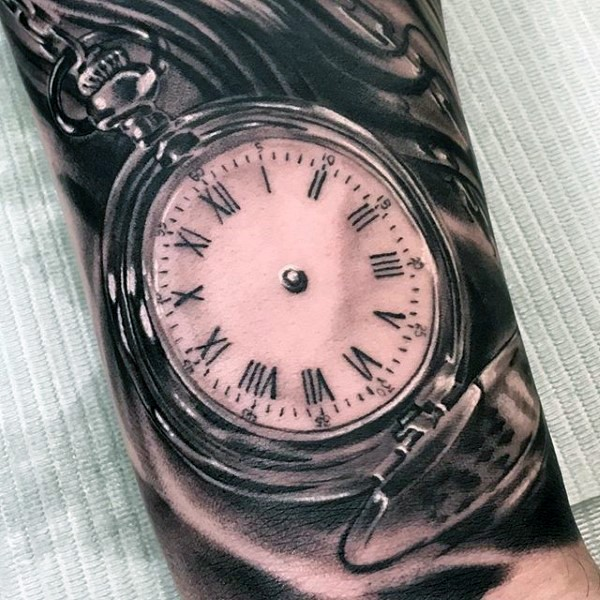 Awesome detailed black and white antic pocket clock tattoo on arm