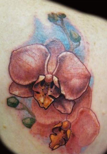 impressionante detagliata orchidee rosse tatuaggio