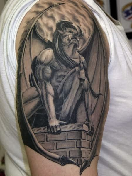 Awesome enormous gargoyle tattoo on shoulder ...