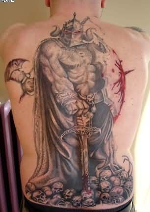 Awesome fantasy style colored bloody demonic warrior tattoo on whole back with skulls