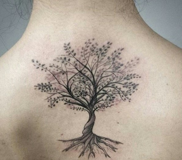 Awesome fantasy world big lonely tree tattoo on upper back