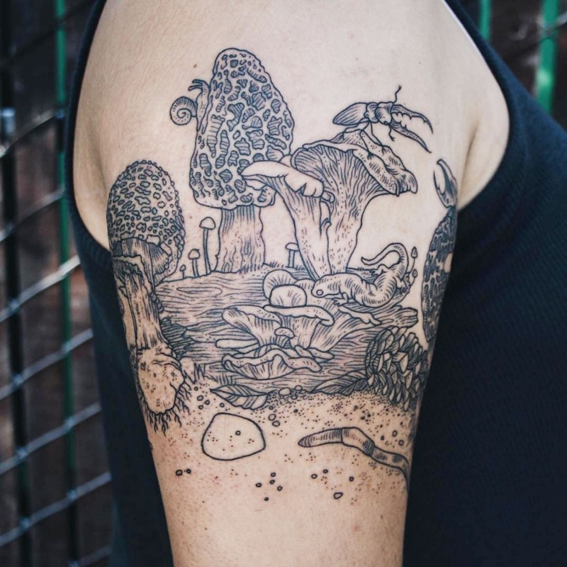 Awesome fantasy world tattoo on shoulder with mushrooms and various animals