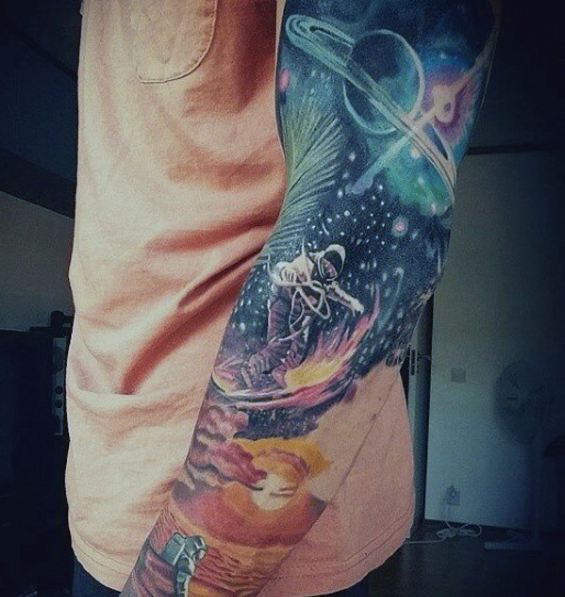 040b60356252d Awesome futuristic style painted colored space tattoo on sleeve ...