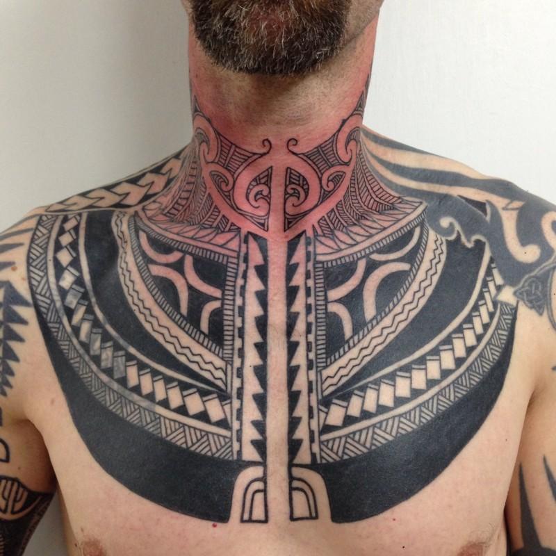eccezionale geometrico inchiostro nero disegno  tatuaggio su collo