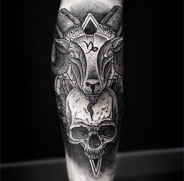 Awesome goat head and skull with sacred sumbols dotwork forearm tattoo
