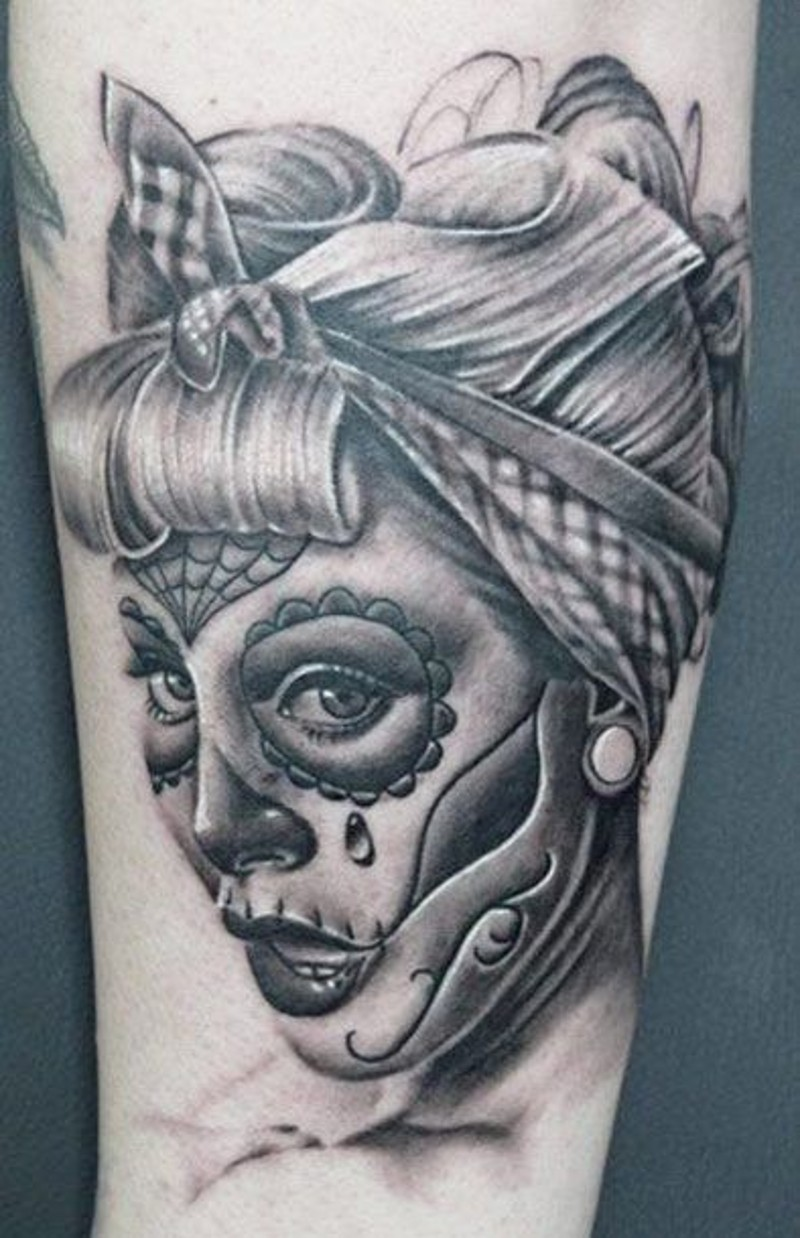 Awesome gray ink pin up santa muerte girl tattoo