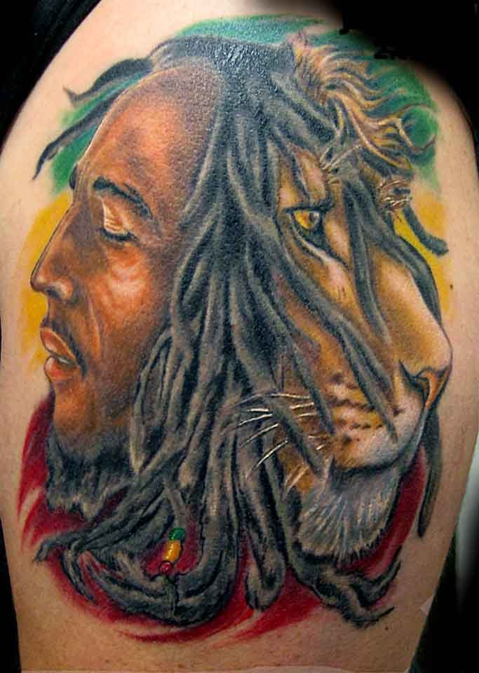 Awesome half marley half lion tattoo
