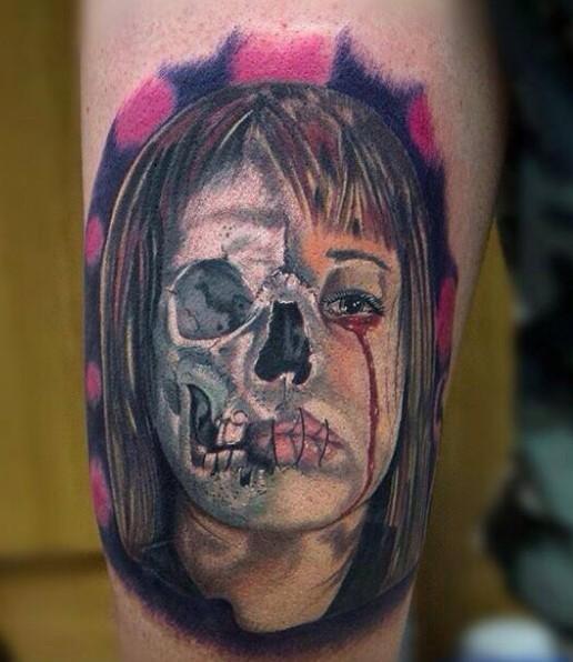 Awesome half skull half girl tattoo